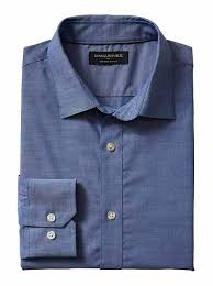 slim fit non iron chambray shirt