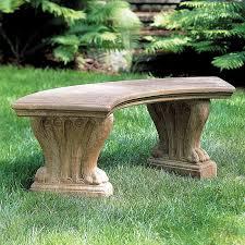 campania international curved westchester cast stone backless garden bench hayneedle
