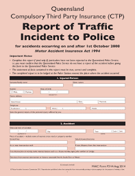 Fillable Online Report Of Traffic Incident To Police Bformb
