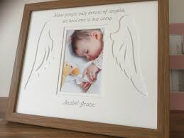 angels picture frames customise baby name date memory angel wings azana photo