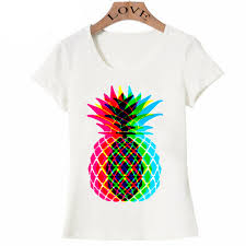 T Shirt With Pineapple Design Us 7 13 49 Off 2018 New Summer Super Bright Pineapple Design Is So Fun T Shirt Women T Shirt Soft Fabric O Neck Casual Tops Cute Girl Female In