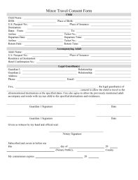Printable Minor Travel Consent Form Legal Pleading Template