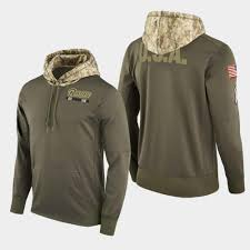 Men's 2018 Salute Rams Olive Hoodie Service To