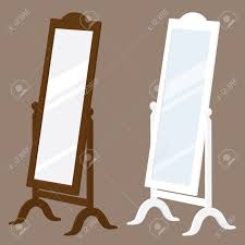 brown and white swivel stand alone mirrors royalty free cliparts