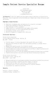 Sample Patient Service Specialist Resume Resume Accounting