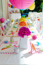 chevron rainbow art party: rainbow daisy centerpieces...using the food  coloring in