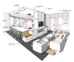 Cuisine Ouverte Sur Salon Blanc Croquis Architecture Intérieure