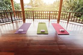 exle of a covered outdoor yoga studio with gorgeous wood floor and beautiful view