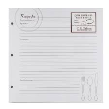 qpm recipe journal page refill