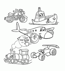 Cartoon Transport Set Coloring Page For