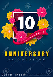 10 Years Anniversary Invitation Card Celebration Template Design