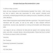 Letter Of Employment Sample Template Amazing Employee Recommendation Letter Templates Hr Template Free For