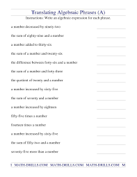 the translating algebraic phrases a math worksheet from the algebra worksheet page at math