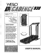 weslo cadence 930 treadmill manual weslo cadence 930 treadmill english manual