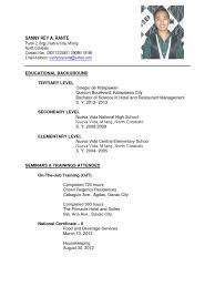 Awesome Collection of Sample Resume For Hotel And Restaurant Management  Graduate Also Sample