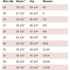 Miss Me Size Chart