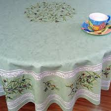 large round coated french tablecloth with olive designs