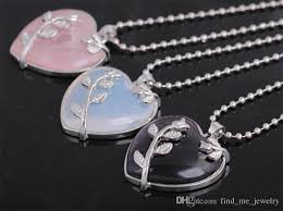 whole 2017 new fashion heart shaped stone pendant necklace black hollow tree branches retro necklace silver plated jewelry for women accessories locket