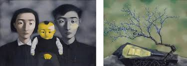 another artist zeng fanzhi who has a total volume of 226 million at auction he is the third most famous artist in china and have the similar style of