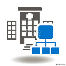 Flow Chart Logo Hospital Network Structure Icon Vector Medical Building