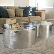 silver metal coffee table handmade silver coffee tables set of 2 s i love coffee metals silver metal coffee table