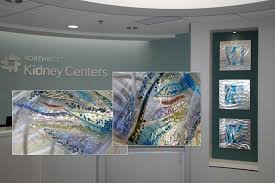 northwest kidney centers fused glass wall art panels installed