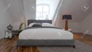 Moderne Schlafzimmer Interieur Mit Bequemen Bett Unter Einer