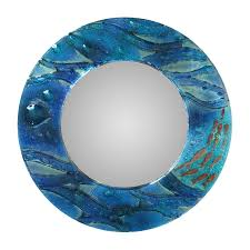 abstract ocean blue glass round wall mirror