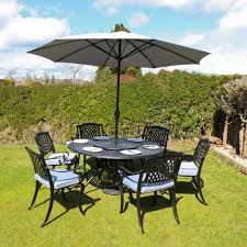 outdoor dining furniture and parasol