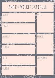 schedule weekly weekly schedule planner templates canva