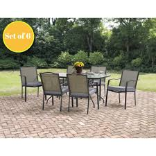 dining chair 6 set burlap kitchen furniture patio outdoor chairs cushioned seat