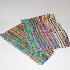 traditional multi coloured indian rag rug green blue tones