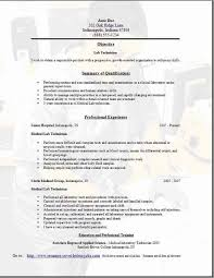 Lab Technician Resume Great Medical Lab Technician Resume Format