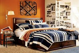bedroom colors orange. Bedroom Decorating Ideas, Striped Bedding Set In Blue-white-orange, Orange Wall Paint Colors