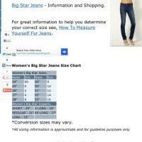 Big Star Jeans Size Chart Mens Sizing Chart
