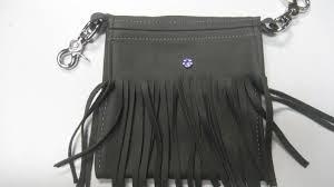 fringe hip bag in gray leather