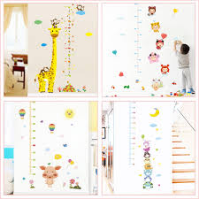 Pig Growth Chart Us 3 63 20 Off Cartoon Giraffe Growth Chart Wall Stickers Kids Room Home Decoration Pig Monkey Owl Animals Mural Art Height Measure Wall Decals In