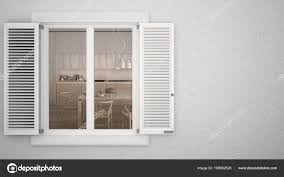 Außenputz Wand Mit Weißen Fenster Mit Fensterläden Zeigt Innen