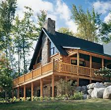 blue sky behind a log home