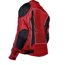 red summer joy mesh motorcycle jacket