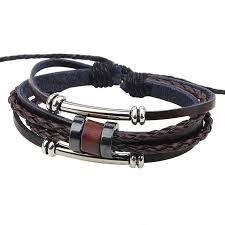 handmade pu leather bracelet brown tribal beads bohemian lb 005