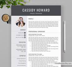 2019 2020 Creative Resume Template Cv Template Digital Instant Resume Professional Ms Word Resume Resume Fonts Icons Cassidy Resume