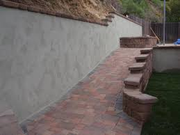 gray stucco retaining wall - Google Search
