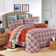 blue orange red and brown all plaid print traditional preppy style 100 brushed cotton full queen size bedding sets