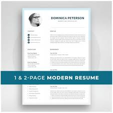 Modern Resume Temllates Modern Resume Template Creative Cv With Photo 1 2 Page Marketing Cv Photo Resume For Word Mac Or Pc Instant Download Dominica