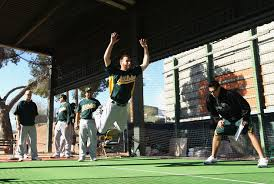 pitcher vinnie chulk pares in a jumping drill during a recent mlb spring practice at