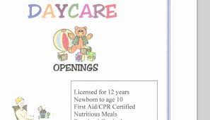 Free Printable Daycare Flyers Free Daycare Flyer Template Fresh Babysitting Day Care
