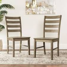 transitional aged gray ladder back dining chair set of 2