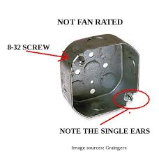 ceiling fan outlet box. ceiling fan electrical box sizes: proper for fan? - doityourself. outlet v