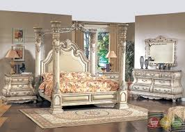 Antique White Queen Poster Canopy Bed Victorian Inspired Bedroom ...